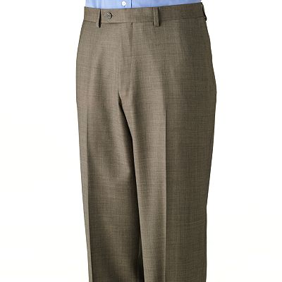 Chaps Sharkskin Wool Flat Front Suit Pants - Big and Tall