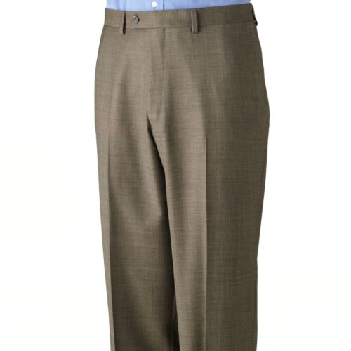 Chaps Sharkskin Wool Flat Front Tan Suit Pants - Big and Tall