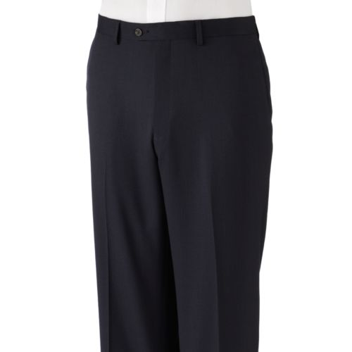 Chaps Classic-Fit Pindot Flat-Front Navy Suit Pants - Big and Tall