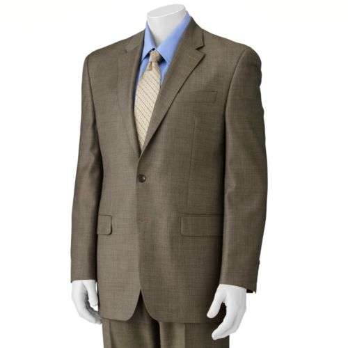 Chaps Sharkskin Wool Tan Suit Jacket - Big and Tall