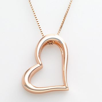 18k Rose Gold Over Silver Heart Pendant