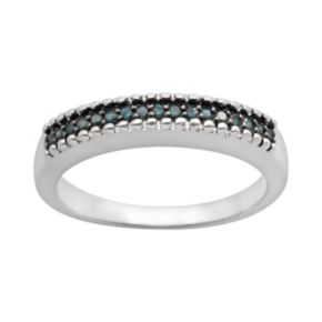 Sterling Silver 1/7-ct. T.W. Blue Diamond Ring