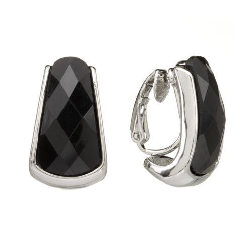 Napier Silver Tone Bead J-Hoop Clip-On Earrings