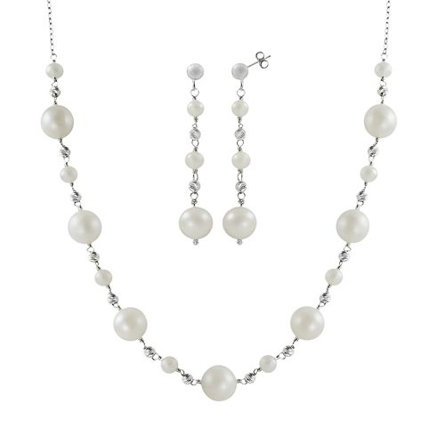 Sterling Silver Freshwater Cultured Pearl Bead Station Necklace & Drop Earring Set