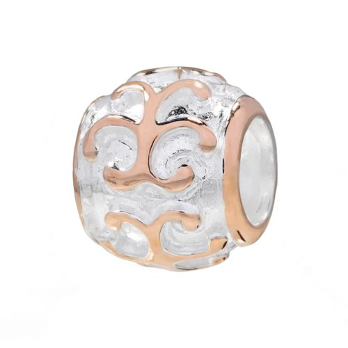 Individuality Beads 14k Rose Gold Over Silver and Sterling Silver Filigree Spacer Bead