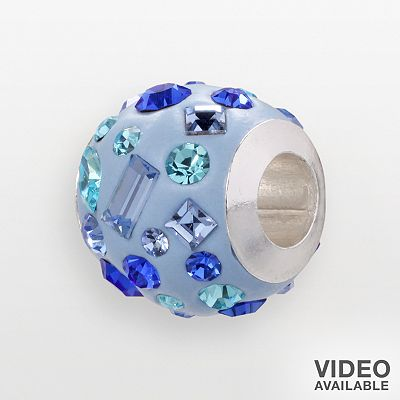 Individuality Beads Sterling Silver Crystal Blue Enamel Bead