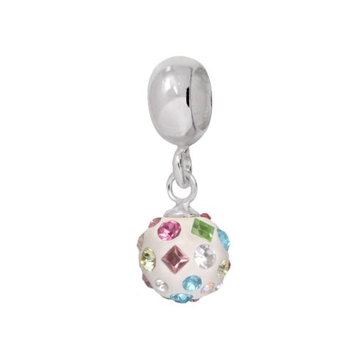 Individuality Beads Sterling Silver Crystal White Enamel Charm