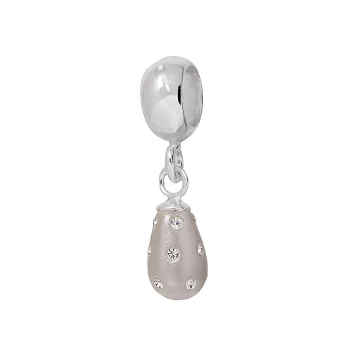 Individuality Beads Sterling Silver Crystal White Teardrop Charm