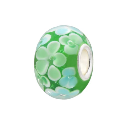 Individuality Beads Green and Turquoise Flower Glass Bead