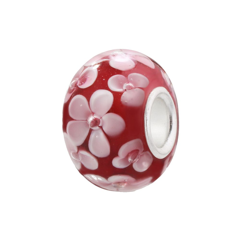 Individuality Beads Raspberry & Pink Flower Glass Bead