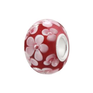 Individuality Beads Raspberry and Pink Flower Glass Bead