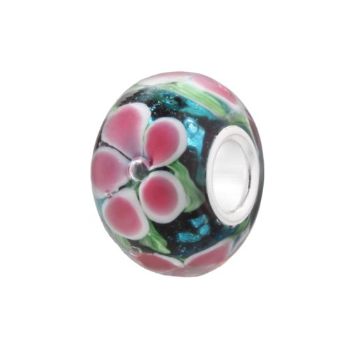 Individuality Beads Blue and Pink Flower Glass Bead