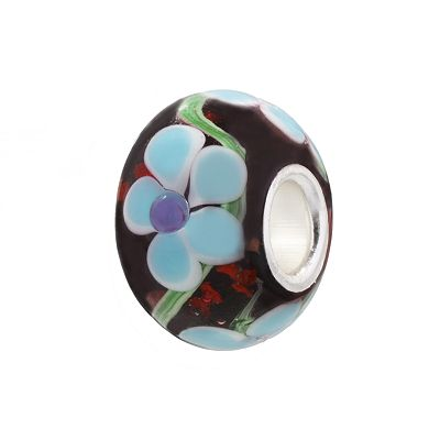 Individuality Beads Blue and Purple Flower Glass Bead