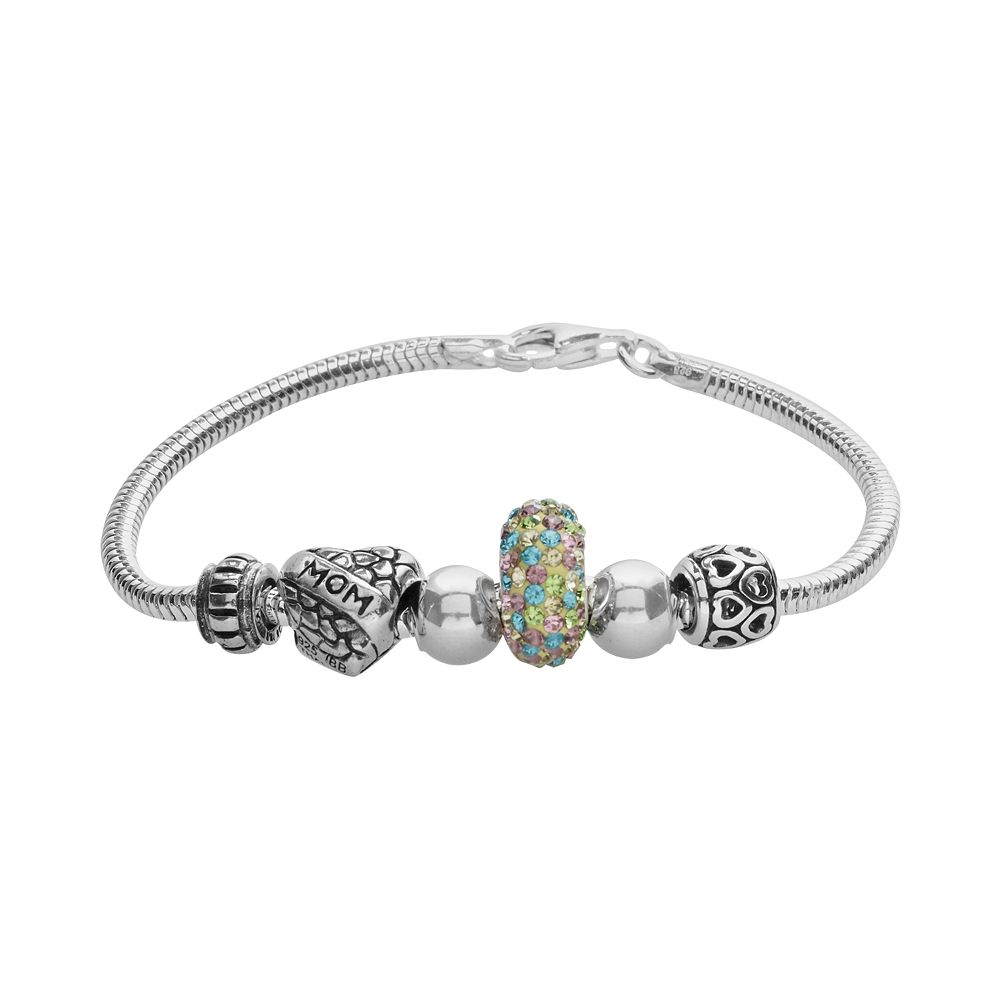 """Individuality Beads Sterling Silver Snake Chain Bracelet & Crystal """"Mom"""" Heart Bead Set"""