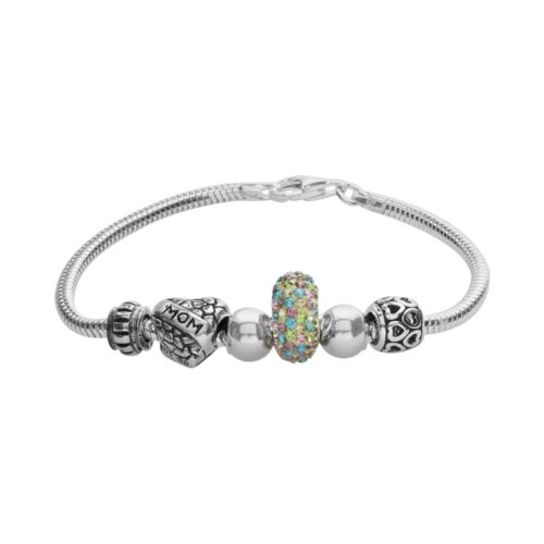 Individuality Beads Sterling Silver Snake Chain Bracelet and Crystal Mom Heart Bead Set
