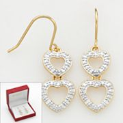 18k Gold Over Silver Diamond Accent Heart Drop Earrings