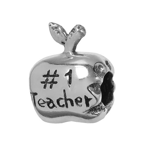 "Individuality Beads Sterling Silver ""#1 Teacher"" Apple Bead"