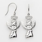 Precious Moments Sterling Silver Diamond Accent Angel Drop Earrings