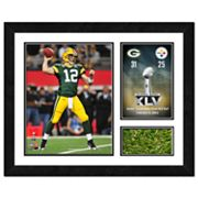 Aaron Rodgers Super Bowl XLV Framed Photo and Turf Milestones and Memories Wall Art