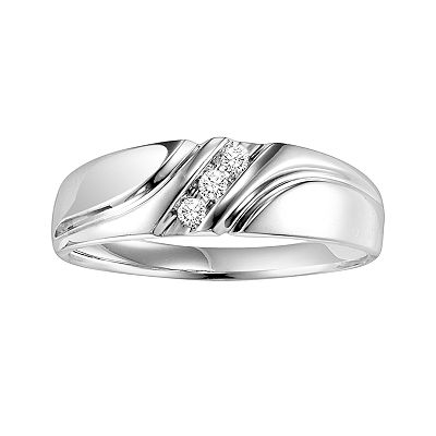 Cherish Always 10k White Gold 1/10-ct. T.W. Round-Cut Diamond Striped Band - Men