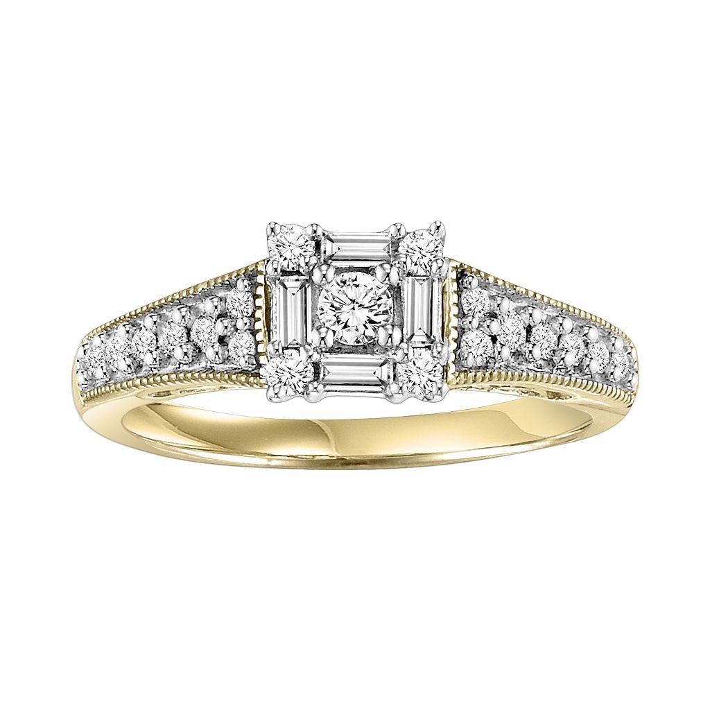 Cherish Always Round-Cut Diamond Engagement Ring in 10k Gold Two Tone (1/2 ct. T.W.)