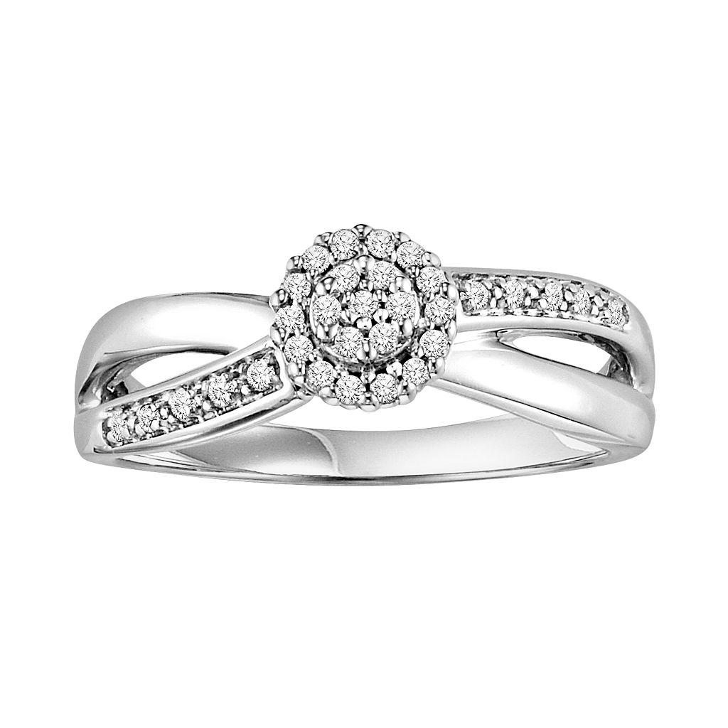 Cherish Always Round-Cut Diamond Crisscross Engagement Ring in 10k White Gold (1/6-ct. T.W.)
