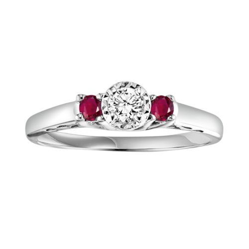 Cherish Always Round Cut Diamond and Ruby Engagement Ring in 10k White Gold (1/6 ct. T.W.)