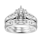 Cherish Always 14k White Gold 1/2-ct. T.W. Marquise-Cut Diamond Ring Set
