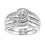 Cherish Always 14k White Gold 1/2-ct. T.W. Round-Cut Diamond Swirl Ring Set