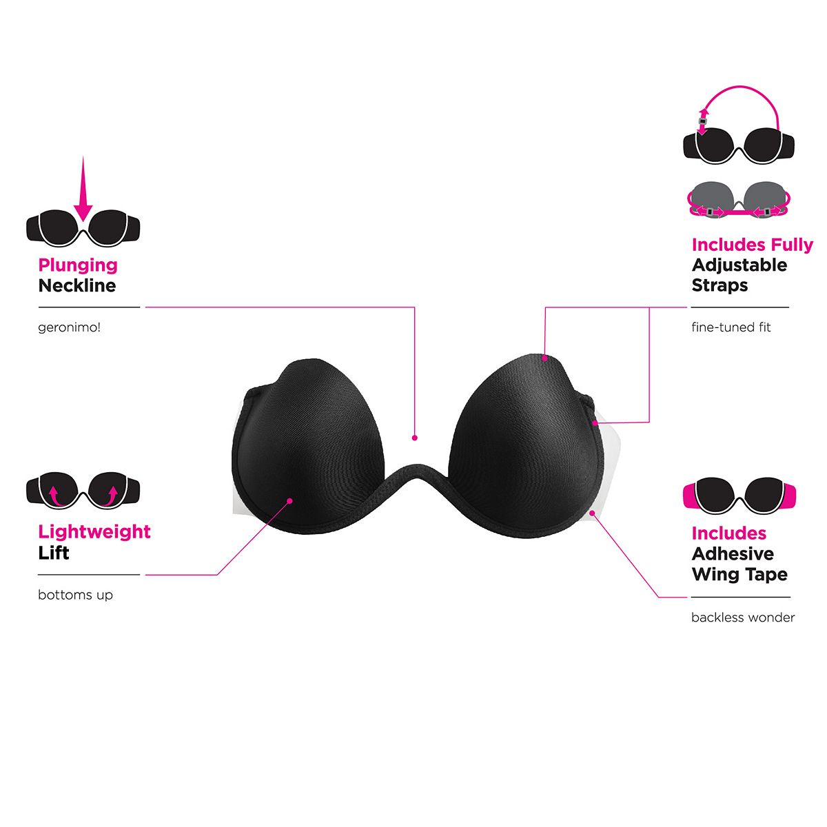 Maidenform® Bra: Push-Up Combo Wing Bra M2228 Black MxHSh