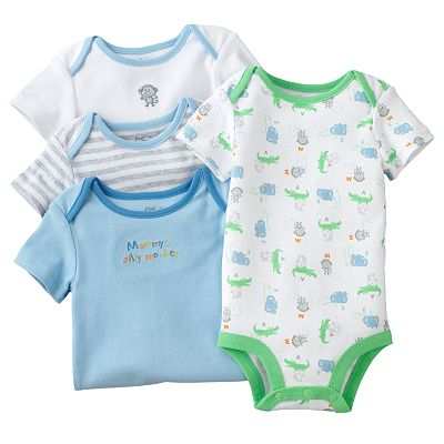 First Moments 4-pk. Monkey Bodysuits - Baby