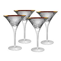 Artland Brocade 4 pc Martini Glass Set
