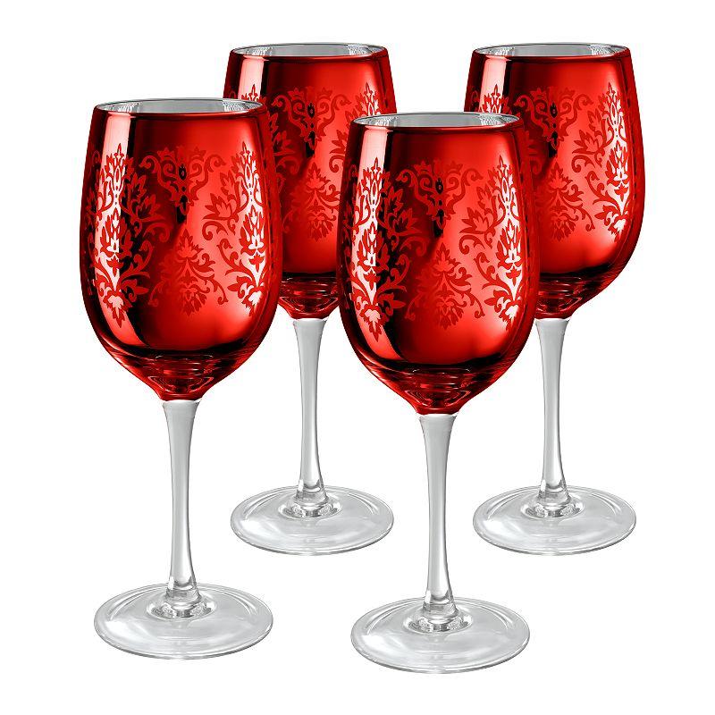 Artland Brocade 4-pc. Wine Glass Set, Red