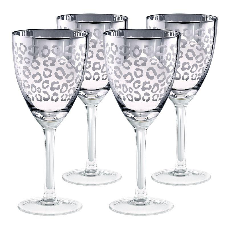 Artland Leopard 4-pc. Wine Glass Set, Grey