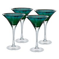 Artland Peacock 4 pc Martini Glass Set