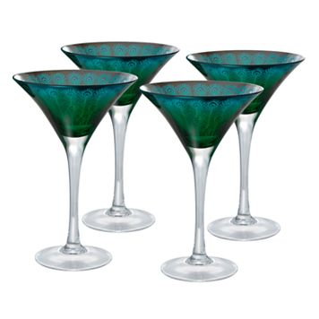 Artland Peacock 4-pc. Martini Glass Set