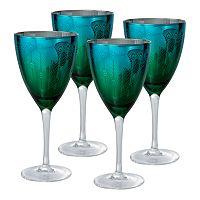 Artland Peacock 4 pc Wine Glass Set