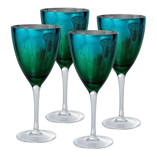 Artland Peacock 4-pc. Wine Glass Set