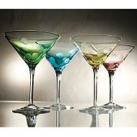 Artland Polka-Dot 4 pc Martini Glass Set