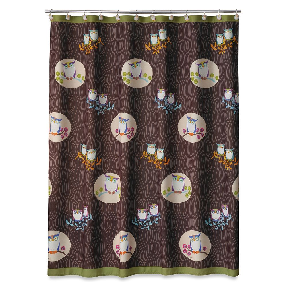 Owl shower curtains - Allure Home Creations Awesome Owls Fabric Shower Curtain