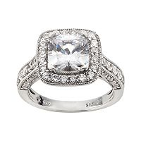 DiamonLuxe Sterling Silver 3 3/4 ctT.W. Simulated Diamond Halo Ring