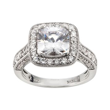 DiamonLuxe Sterling Silver 3 3/4-ct. T.W. Simulated Diamond Halo Ring