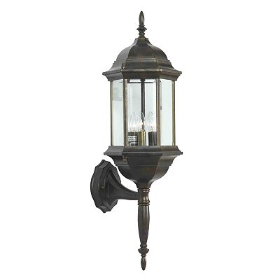 Custom Fit 3-Light Bronze-Tone Wall Lantern
