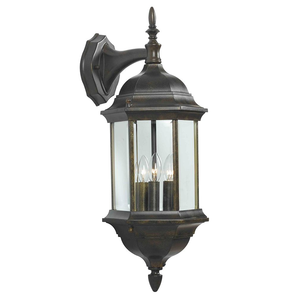 Custom Fit 3-Light Bronze-Tone Wall Lantern - Outdoor