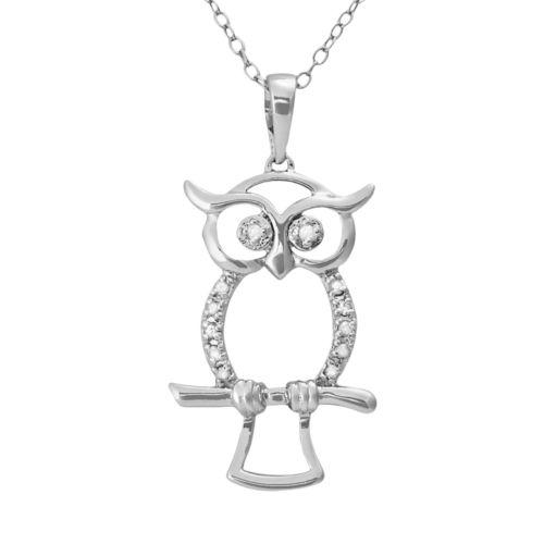 Sterling Silver 1/10-ct. T.W. Diamond Openwork Owl Pendant