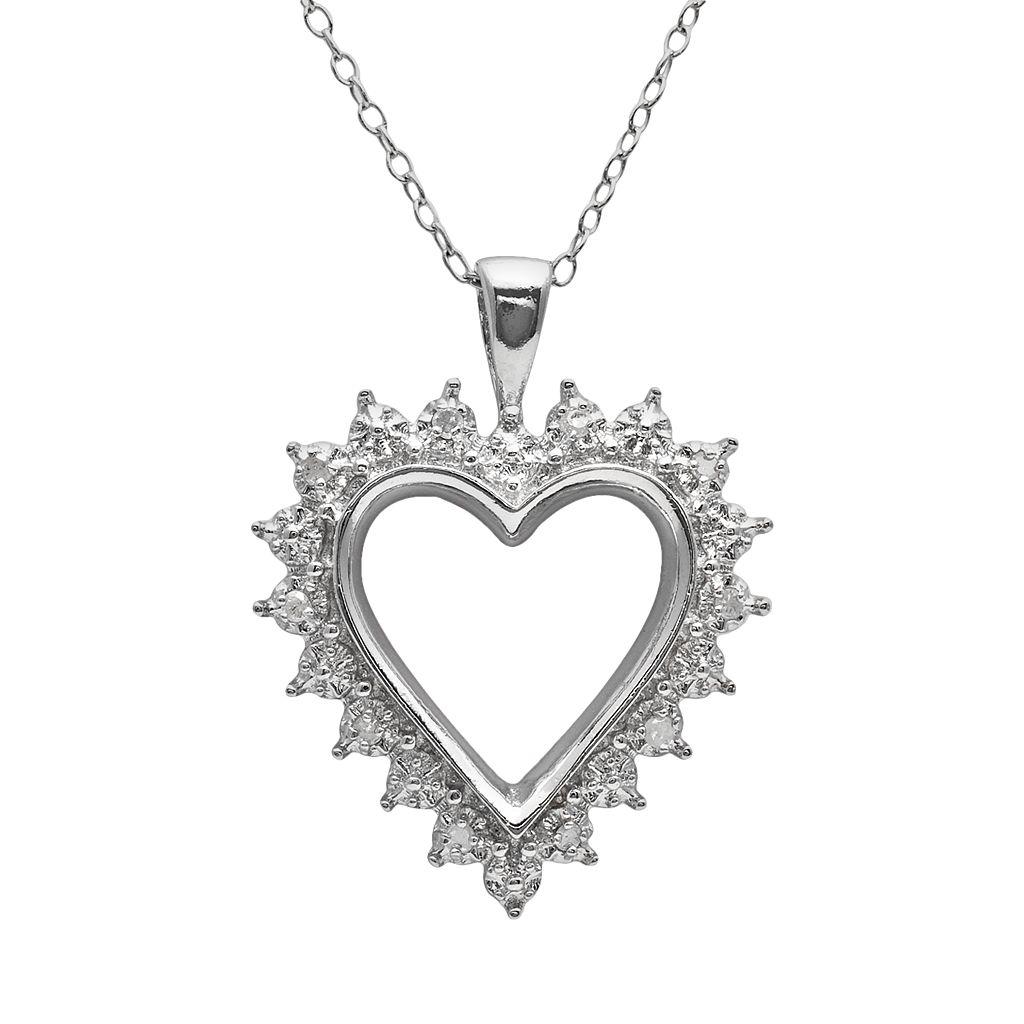 Sterling Silver 1/10-ct. T.W. Diamond Openwork Heart Pendant