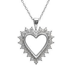 Sterling Silver 1/10 ctT.W. Diamond Openwork Heart Pendant