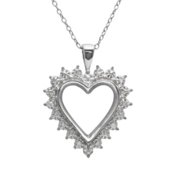 Sterling Silver 1/10-ct. T.W. Diamond Openwork Heart Pendant