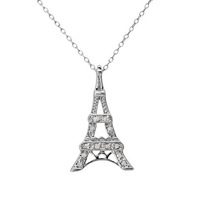 Sterling Silver 1/10-ct. T.W. Diamond Eiffel Tower Pendant