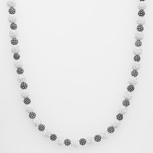 Sterling Silver Crystal Bead Necklace